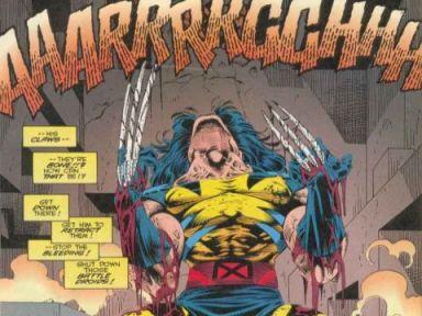 Wolverine descobre que suas garras são de osso. Arte de Adam Kubert.