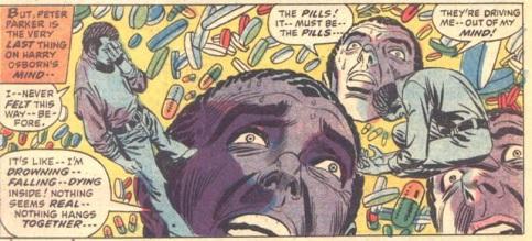 """Harry Osborn sofre em uma viagem de drogas em um painel """"viajante"""" de Gil Kane. Stan Lee tocando em temas delicados."""