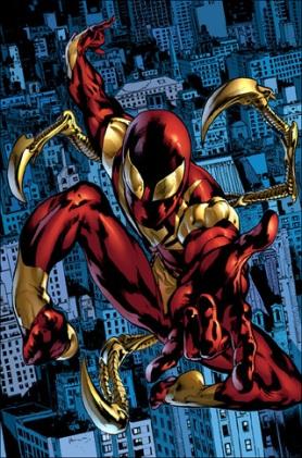 A armadura estilo Homem de Ferro que o Homem-Aranha usa em Guerra Civil. Arte de Ron Garney.
