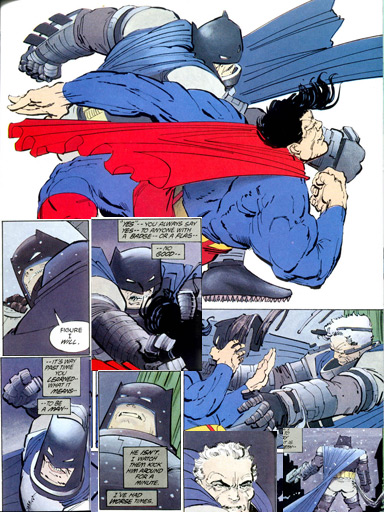 Batman versus Superman no traço original de Frank Miller.