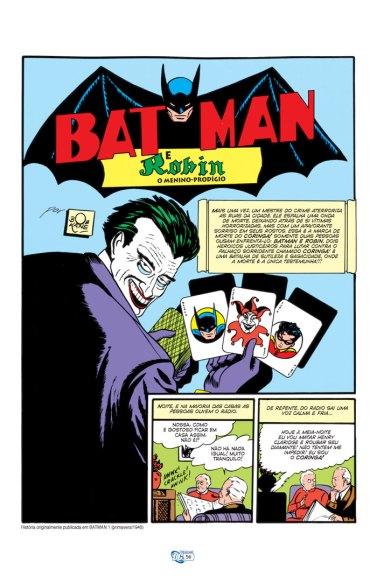 """Primeira página da história com a primeia aparição do Coringa em """"Batman 01"""". Texto de Finger, arte de Kane e Robinson."""