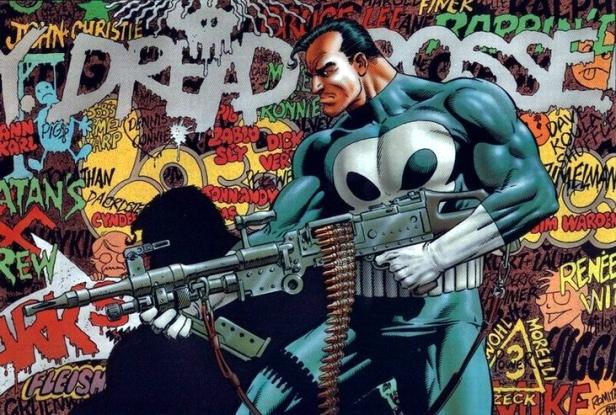 O Justiceiro nos quadrinhos, por Mike Zeck.
