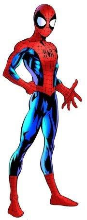 Para o universo Ultimate, Mark Bagley criou um visual mais cartunesto para o Homem-Aranha.