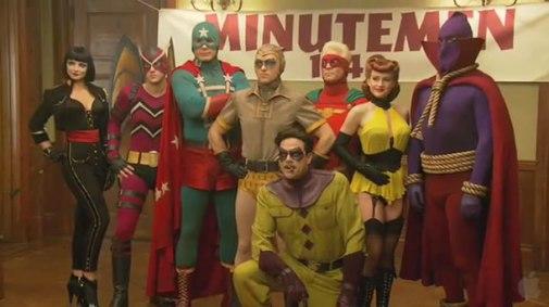 Os Minutemen, a geração de heróis anterior aos Watchmen em sua versão no cinema.