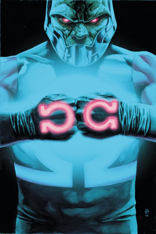 Darkseid e sua marca. Arte de J.G. Jones.