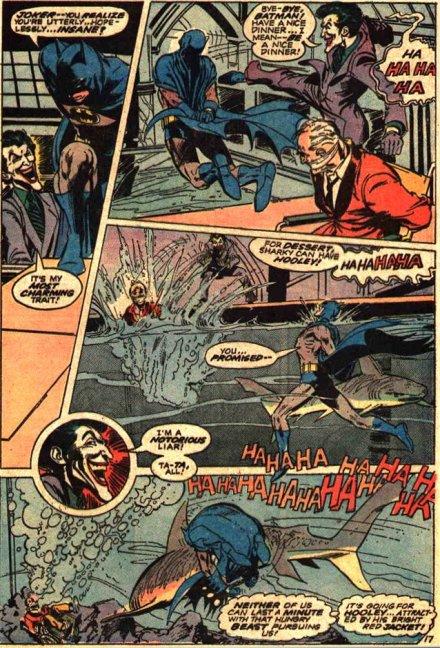 """Batman, Coringa e um tubarão em """"Batman 251"""" por O'Neil e Adams."""