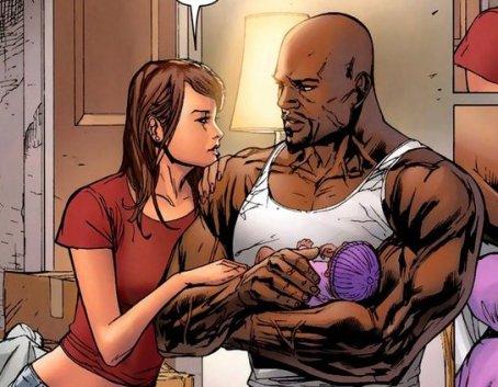 Jessica Jones, Luke Cage e a filha de ambos, Danielle.