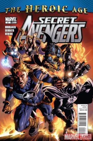 Os Vingadores Secretos (com o Supersoldado à frente) desenhados por Mike Deodato Jr.