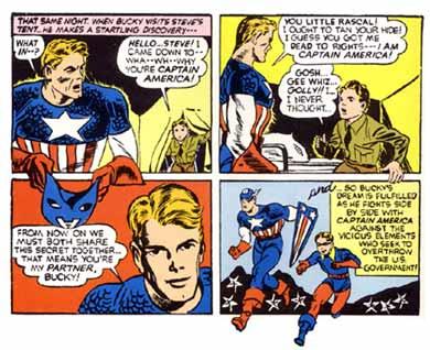 """Página de """"Captain America Comics 01"""" com a estreia de Bucky."""