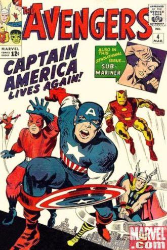 """""""Avengers 04"""" de 1964 traz o Capitão América de volta: tacada genial."""
