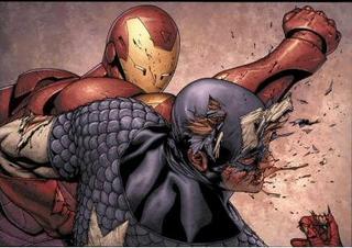 Homem de Ferro versus Capitão América. Arte de Steve McNiven.