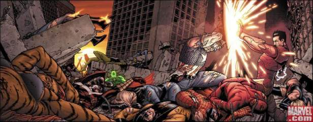 Capitão América e Homem de Ferro lutam na história.