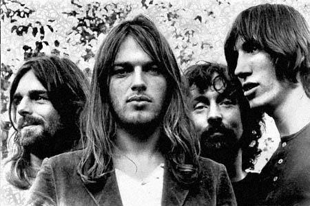 O Pink Floyd em 1972, à beira da fama. Wright, Gilmour, Mason e Waters.