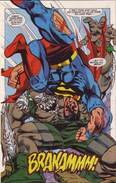 Superman combate Apocalypse na arte de Dan Jurgens.