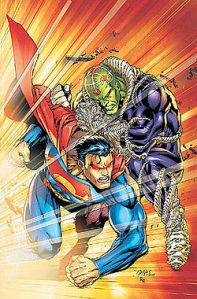 Superman vs. Brainiac na arte do brasileiro Ed Benes.