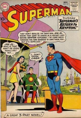 """A clássica história de Siegel: """"Retorno a Krypton"""", com o herói encontrando sues pais, Jor-El e Lara."""