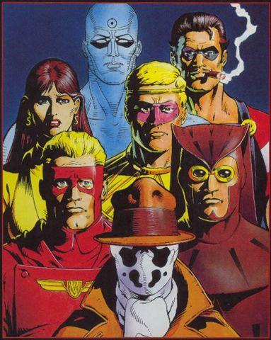 Os Watchmen na obra original. Arte de Dave Gibbons.