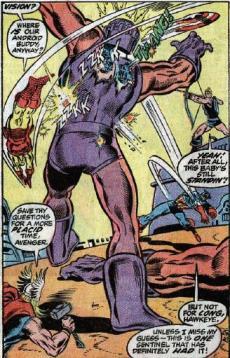 """Os Vingadores enfrentam um Sentinela em """"Avengers 104"""". Arte de Rick Buckler."""