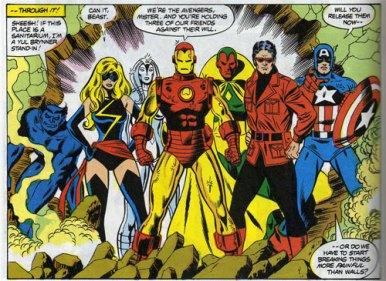 A Miss Marvel com os Vingadores nos anos 1970. Mudanças no time nos cinemas também.