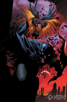 Batman e seu filho, Damian Wayne, o Robin atual.
