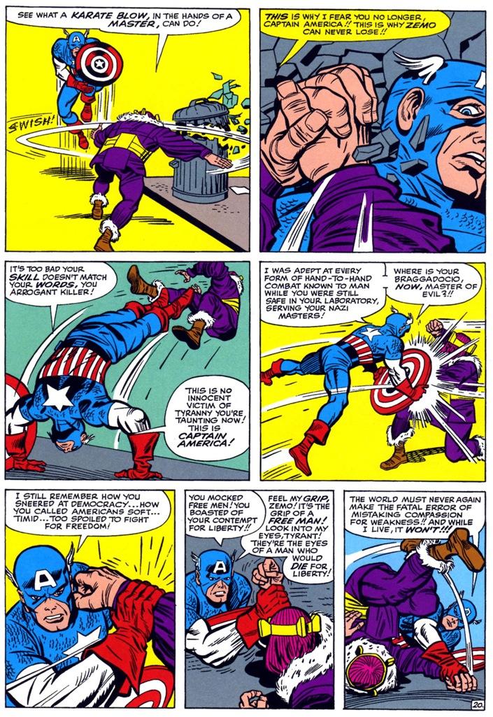 Capitão América vs. Barão Zemo na arte de Jack Kirby.