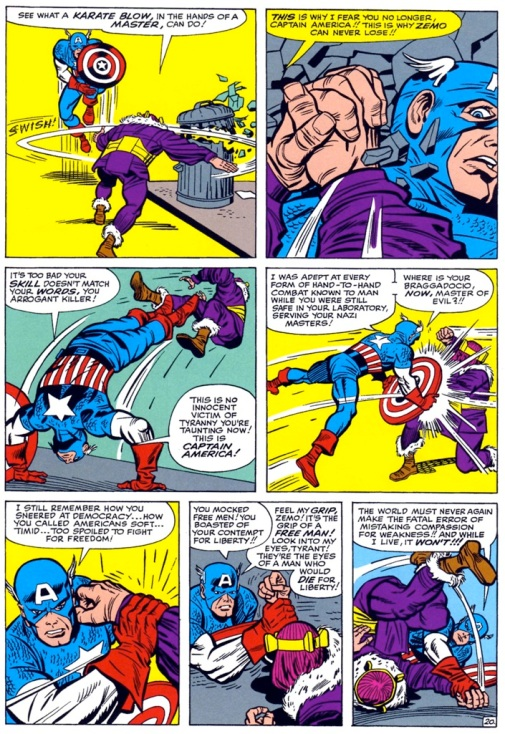 Captain America vs baron zemo by jack kirby