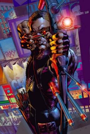O Gavião Arqueiro no Universo Ultimate. Arte de Bryan Hitch.