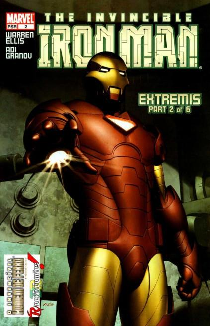 Uma das capas do arco Extremis: mudança radical para o Homem de Ferro.
