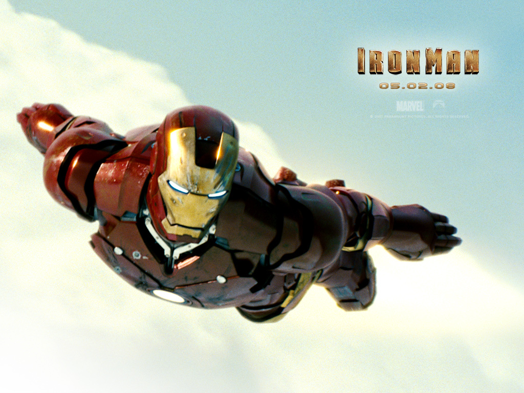 Iron-Man movie 2008 poster flying