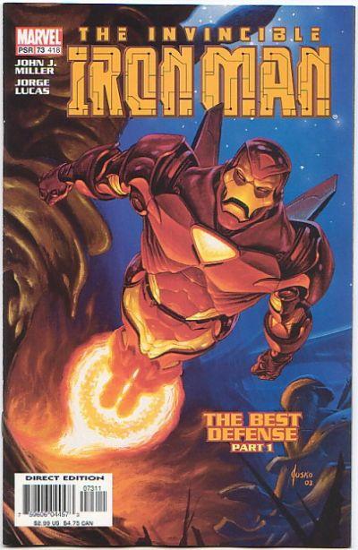 """Início do arco """"Melhor Defesa"""" em """"Iron-Man 73"""", de 2003."""