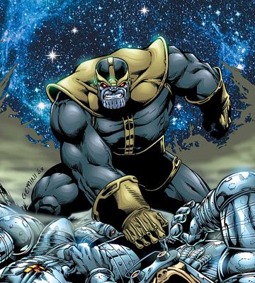 Thanos nos quadrinhos: maior vilão cósmico da Marvel.