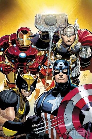 A formação principal dos Vingadores, por John Romita Jr.