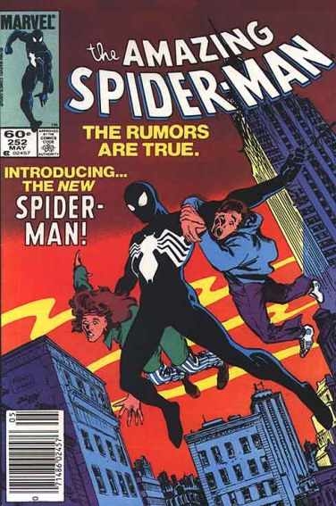 """O uniforme negro na capa de """"Amazing Spider-Man 252"""" de 1984. Arte de Ron Frenz."""