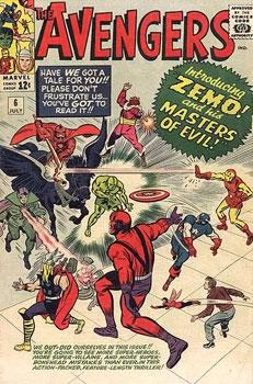 A primeira formação dos Mestres do Terror, liderados pelo Barão Zemo.