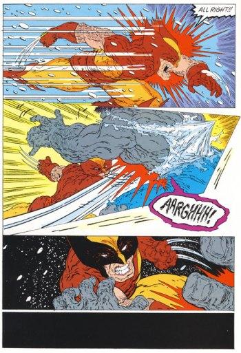 Selvagem confronto entre Hulk e Wolverine por Todd McFarlane.