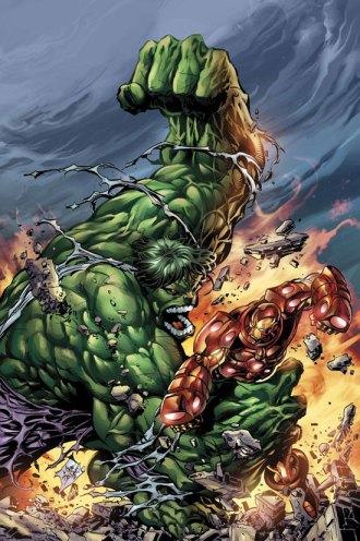 O Hulk combate o Homem de Ferro na arte selvagem de Mike Deodato Jr.