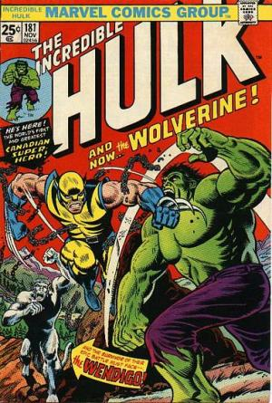 "A estreia de Wolverine em ""Incredible Hulk 181"", de 1974. Arte de John Romita."