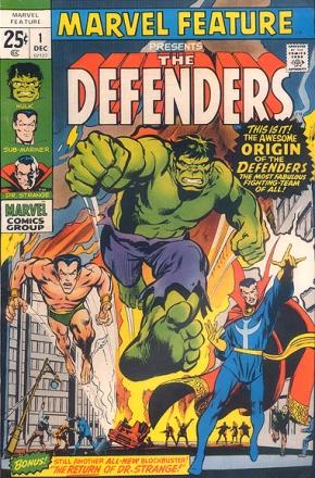 A estreia dos Defensores, em 1971. Capa de John Buscema e arte interna de Ross Andru.