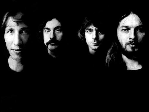 Pink Floyd close up in black and white