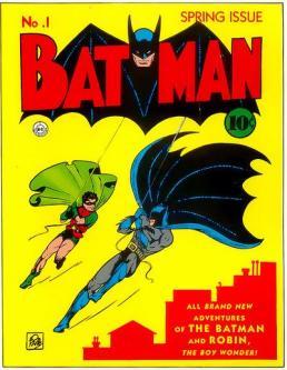 Capa de Batman 01, de 1940: primeiras aparições do Coringa e da Mulher-Gato.