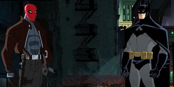 O Capuz Vermelho e o Batman na versão animada.