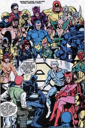 Avengers 181 traz 16 Vingadores e os Guardiões da Galáxia:  Arte de John Byrne.