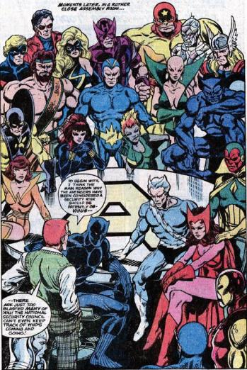 Avengers 181 traz 16 Vingadores e os Guardiões da Galáxia: hora de uma faxina. Arte de John Byrne.