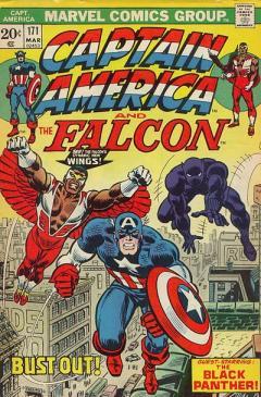 O Falcão, Capitão América e Pantera Negra. Arte de John Romita.