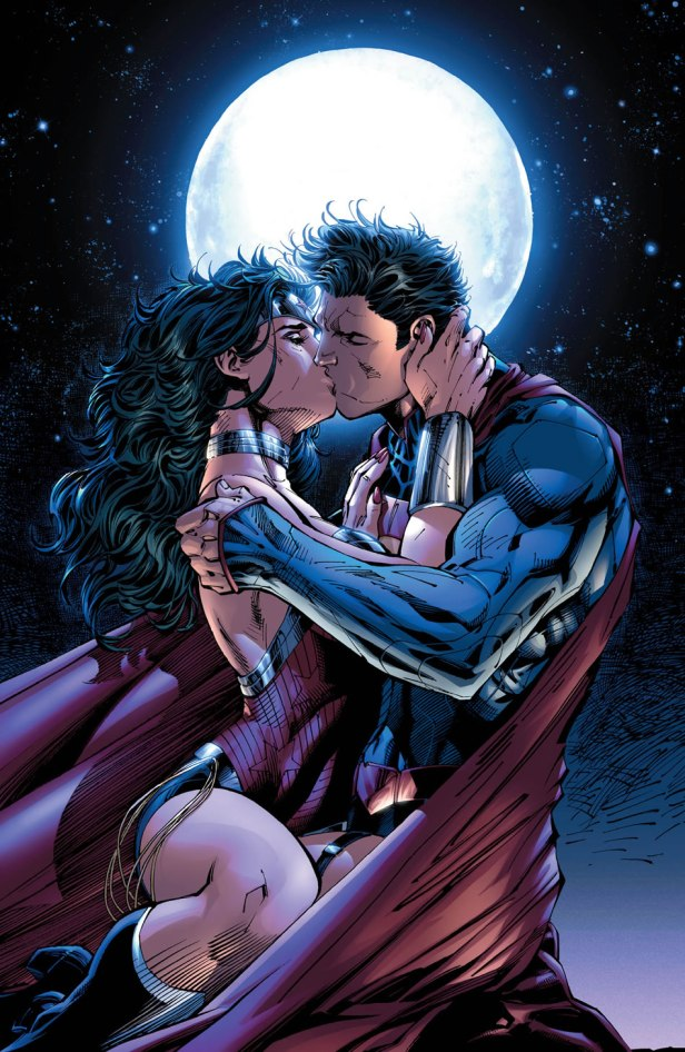 superman and wonder-woman kiss pin-up by jim lee for justice league 12 2012
