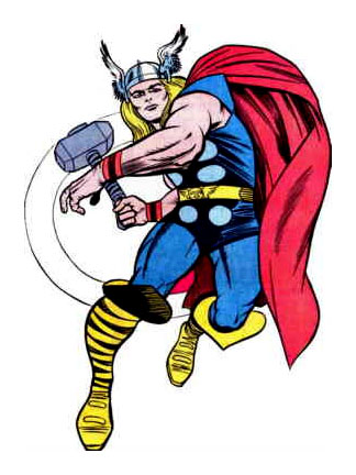 Thor no visual clássico de Jack Kirby...