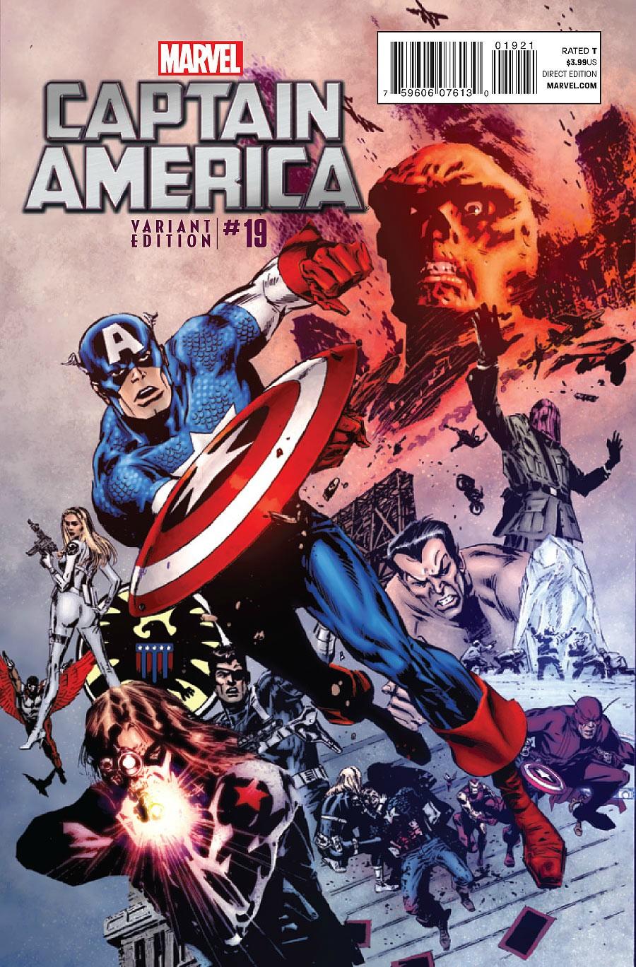 Uma das capas de Captain America 19: fim da Era Brubaker.