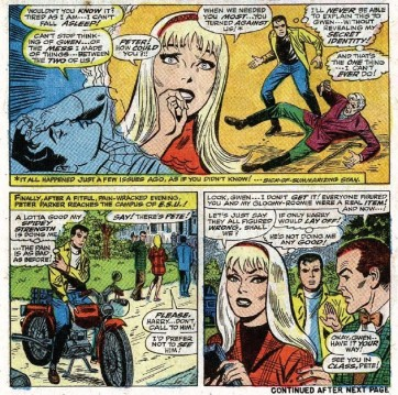 Os dramas de Gwen Stacy, Peter Parker e Harry Osborn na arte de John Romita.