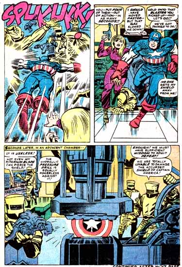Capitão América e Sharon Carter combatem a IMA em suas aventuras solo. Por Lee e Kirby.
