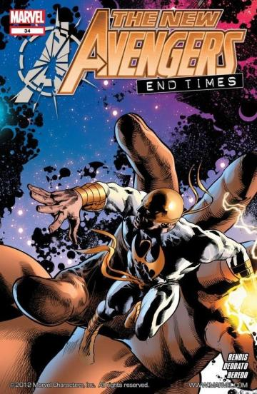Capa de New Avengers 34 destaca o Punho de Ferro. Arte de Mike Deodato Jr.